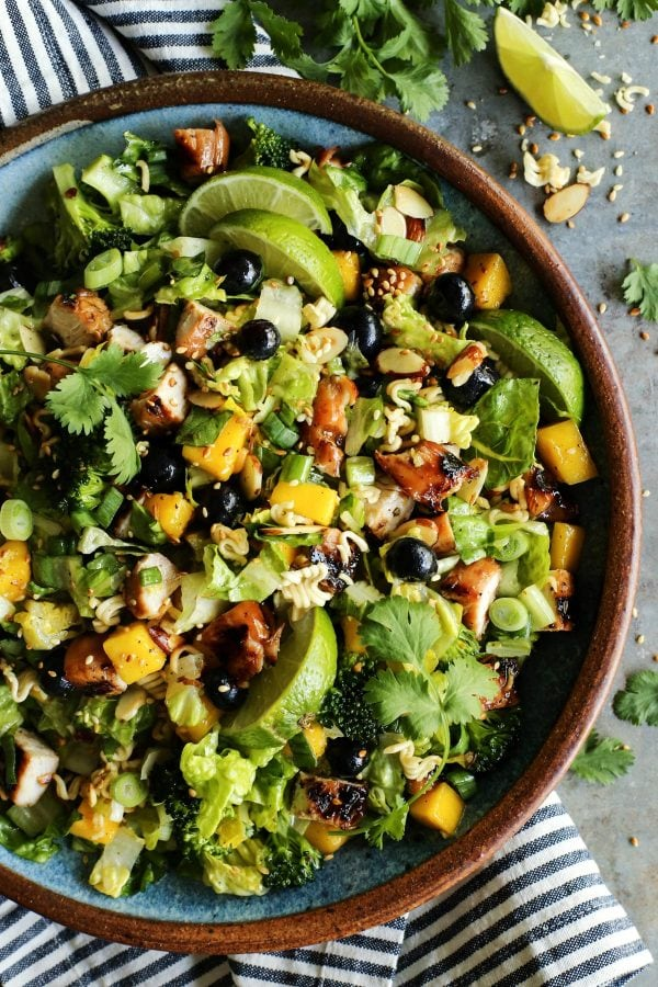 30 Healthy Ramen Noodle Recipes - Chopped Ramen Noodle Salad with Grilled Terikyaki Turkey via A Farmgirl's Dabbles   https://www.roseclearfield.com