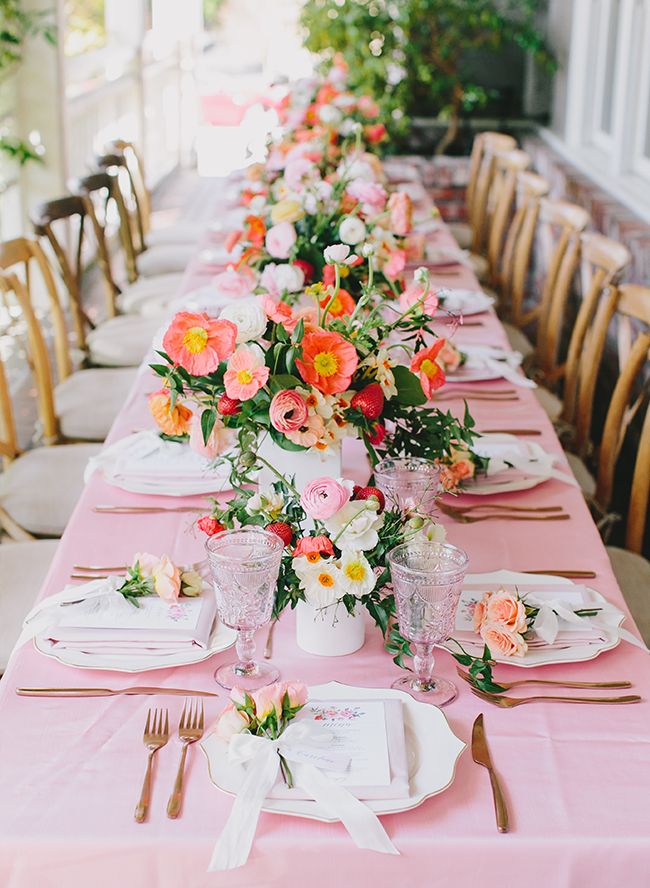 Stunning coral & pink strawberry baby shower with strawberry dotted floral centerpieces, via Inspired By This. #babyshower #flowers #floralcenterpieces   https://www.roseclearfield.com