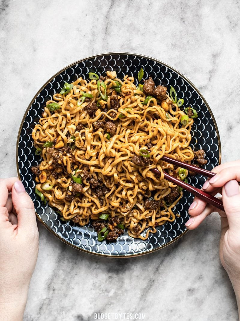 30 Healthy Ramen Noodle Recipes - Pork and Peanut Dragon Noodles via Budget Bytes | https://www.roseclearfield.com