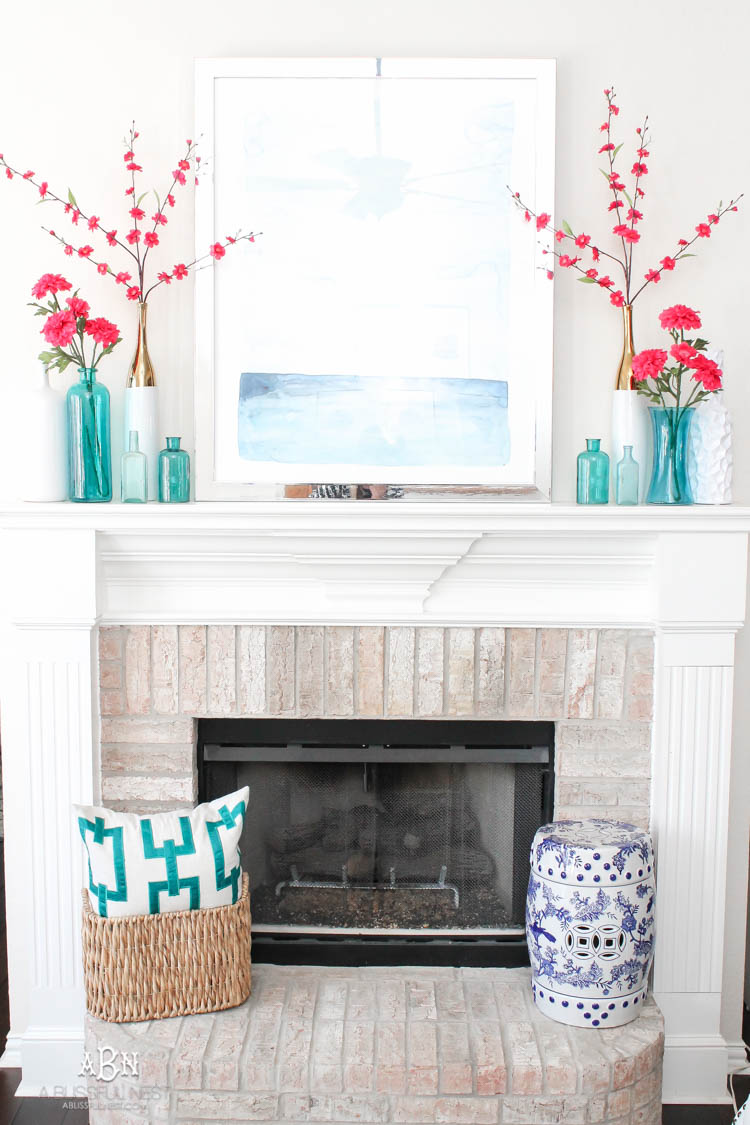 Spring Mantel Inspiration - Spring Living Room Refresh via A Blissful Nest | https://www.roseclearfield.com