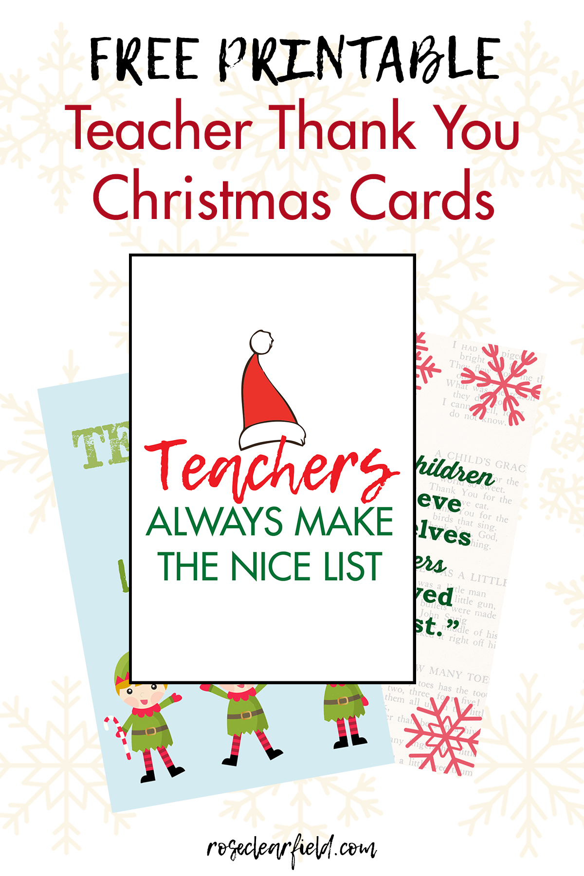 Free Printable Teacher Thank You Christmas Cards Rose
