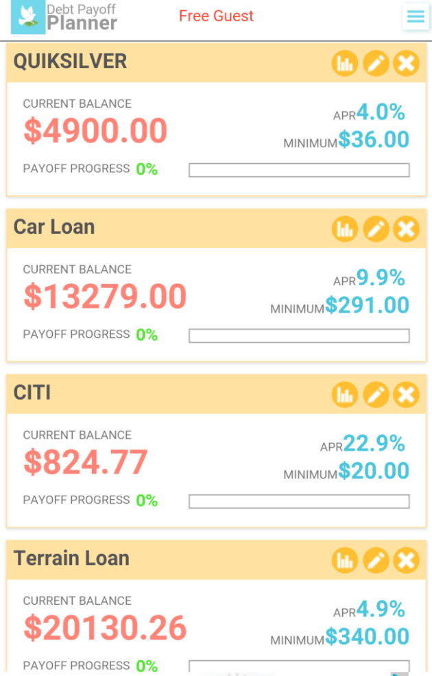 Debt Pay-Off Planner App Loans