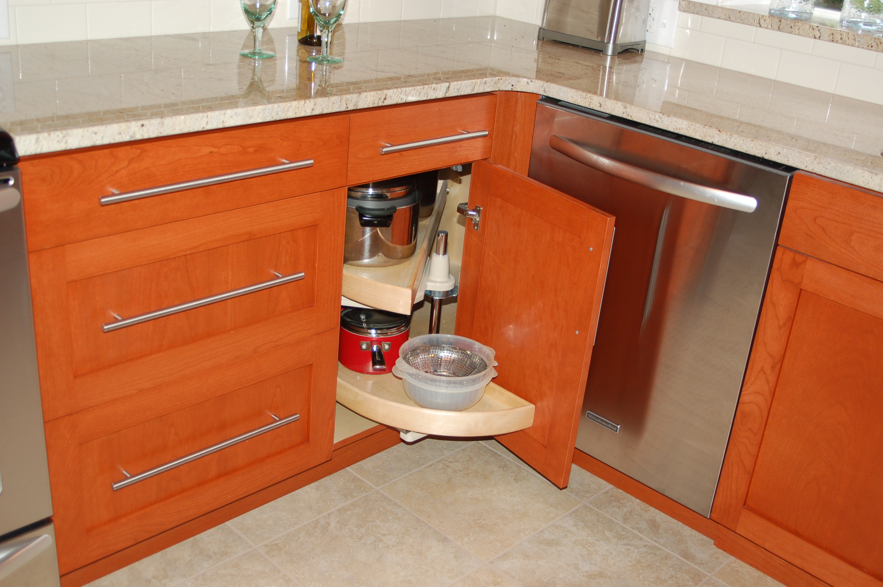 corner cabinet for kitchen wood countertops storage solutions rose construction inc
