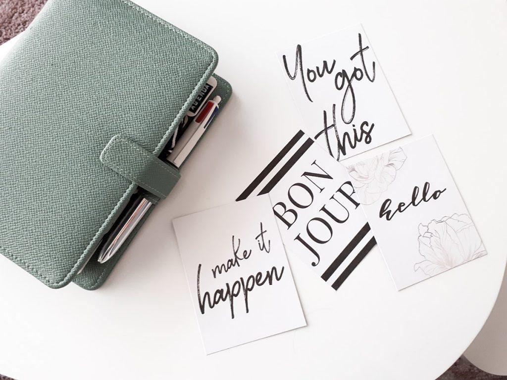 Cartes journaling à imprimer minimaliste