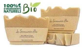 LaSavonnerieBio - Savon solide au lait de chèvre miel artisanal bio et naturel
