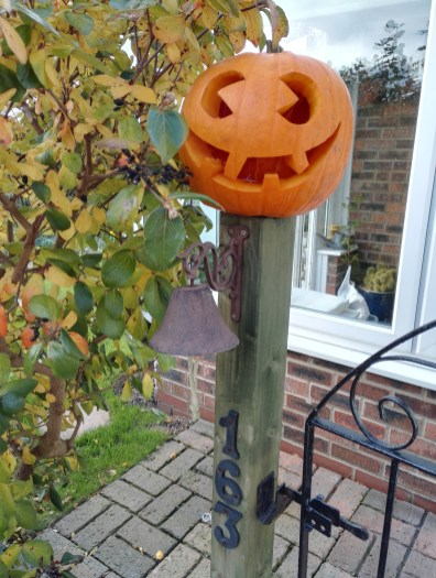 The garden, decorated for Halloween