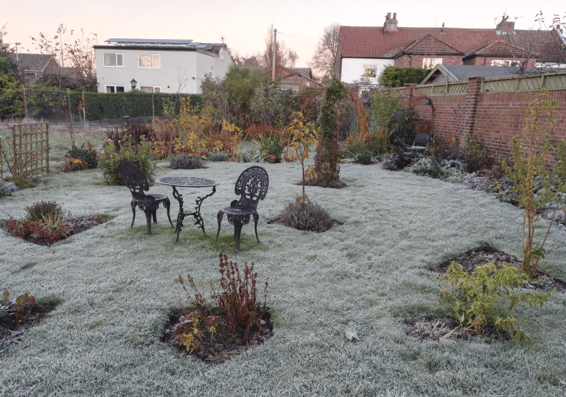 A little crispy underfoot for afternoon tea in the garden!
