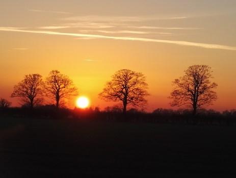 A frosty autumn sunset