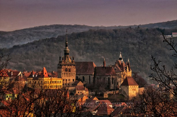 landscape medieval citadel of romania's sighisoara at dawn