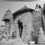 Black and white photograph of a Somba home in Northern Benin