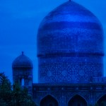 photograph of Samarkand's Registan during the blue hour