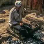 Blacksmith in Kashgar making horseshoes