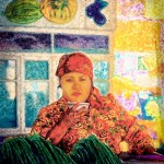 An Uzbek woman sips tea as she works in the Samarkand vegetable market