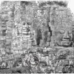 Cambodia: six faces carved into the temple of Bayon