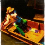 bright saturated portrait of a man paddling a boat in Bangkok