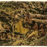 a bird's eye view of a tufa village in Cappadocia, Turkey