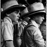 Portrait of two Amish boys at livestock sale