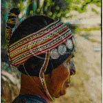 H'Mong woman showing traditional headdress
