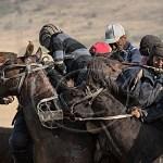 up-close shot of Buzhkazi riders and horses in scrum