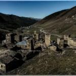 Georgia: tinted landscape of a Caucasus village