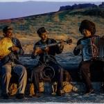 Uzbek musicians play as sun sets on Ayazakala