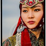 beautiful Mongolian woman dressed in an ancient costume of a Mongolian queen