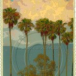 Santa Barbara, California poster with palms, clouds and mountains