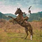 Kazakhstan:Rearing Horse with Rider