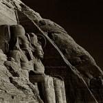 sepia toned view of statues of Abu Simbel