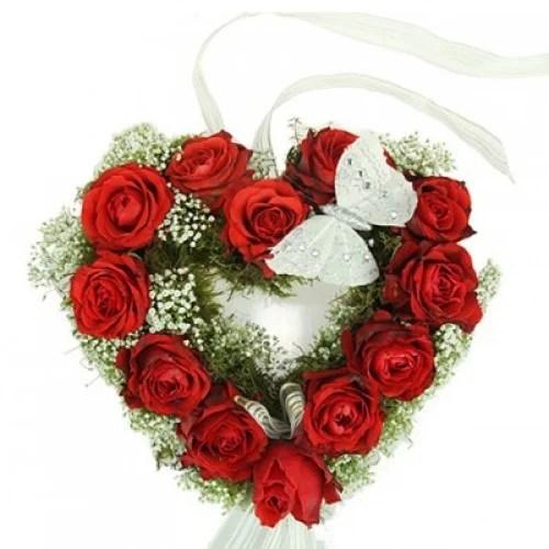 Blumengesteck  Herzrosen  Rosenbote