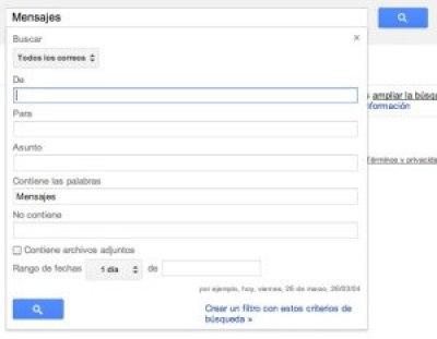 Captura del cuadro de búsqueda avanzada de Gmail