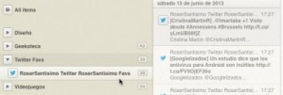 Captura de pantalla de mis favoritos de Twitter cargados en un agregador