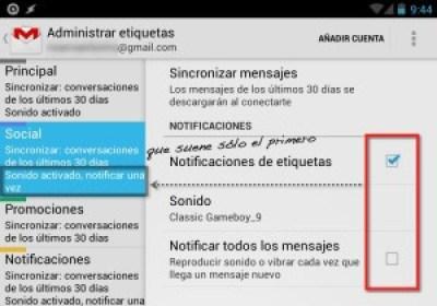 Captura de pantalla de etiquetas de la app de Gmail para Android