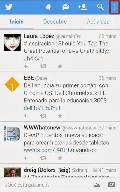 Captura de pantalla para cambiar las notificaciones de Twitter