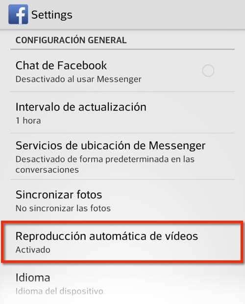 Captura de pantalla app Facebook, Reproducción automática de vídeos