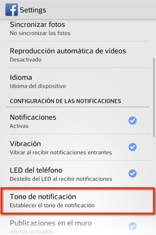 Captura de pantalla app Facebook cambiando el tono de las notificaciones