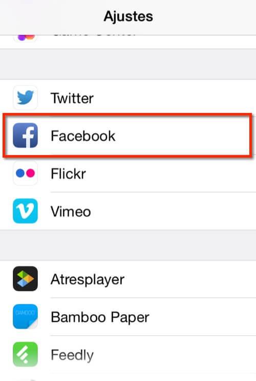 Captura de la pantalla de ajustes en iOS