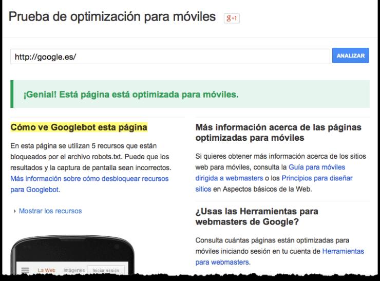 Imagen de Prueba de optimización para móviles
