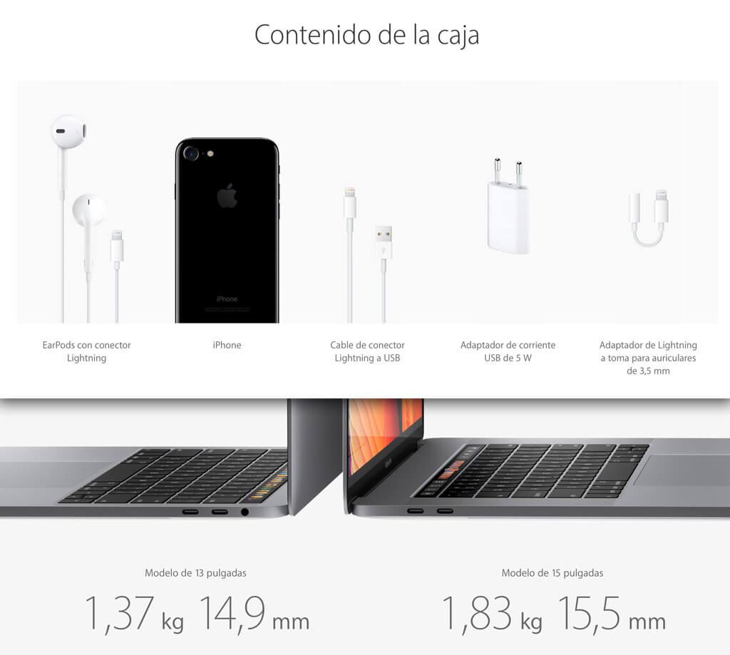 Comparativa de los complementos iPhone7 Vs MacBook Pro