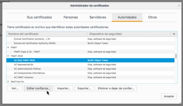 Ruta en Firefox para localizar los certificados de la FNMT