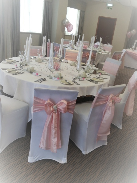 blush chair sashes uk set of 2 dining chairs wedding event covers hoods bows lace to hire pale pink taffeta with large diamante embellishment white carlisle cumbria