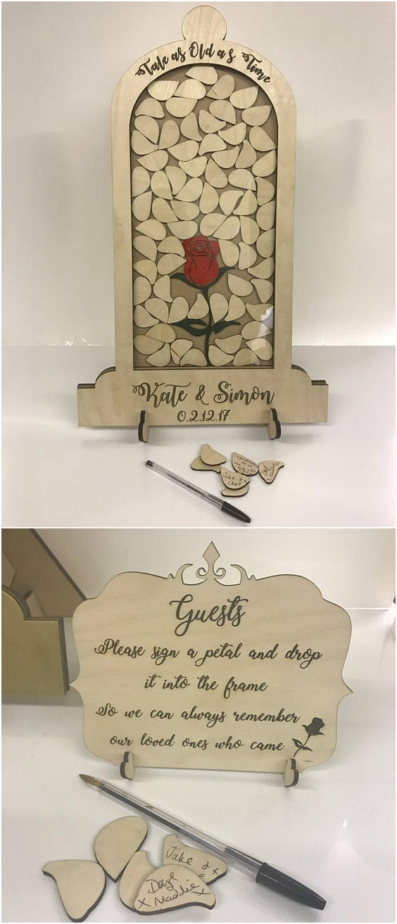 Top 15 Rustic Framed Wooden Wedding Guest Books  Roses  Rings