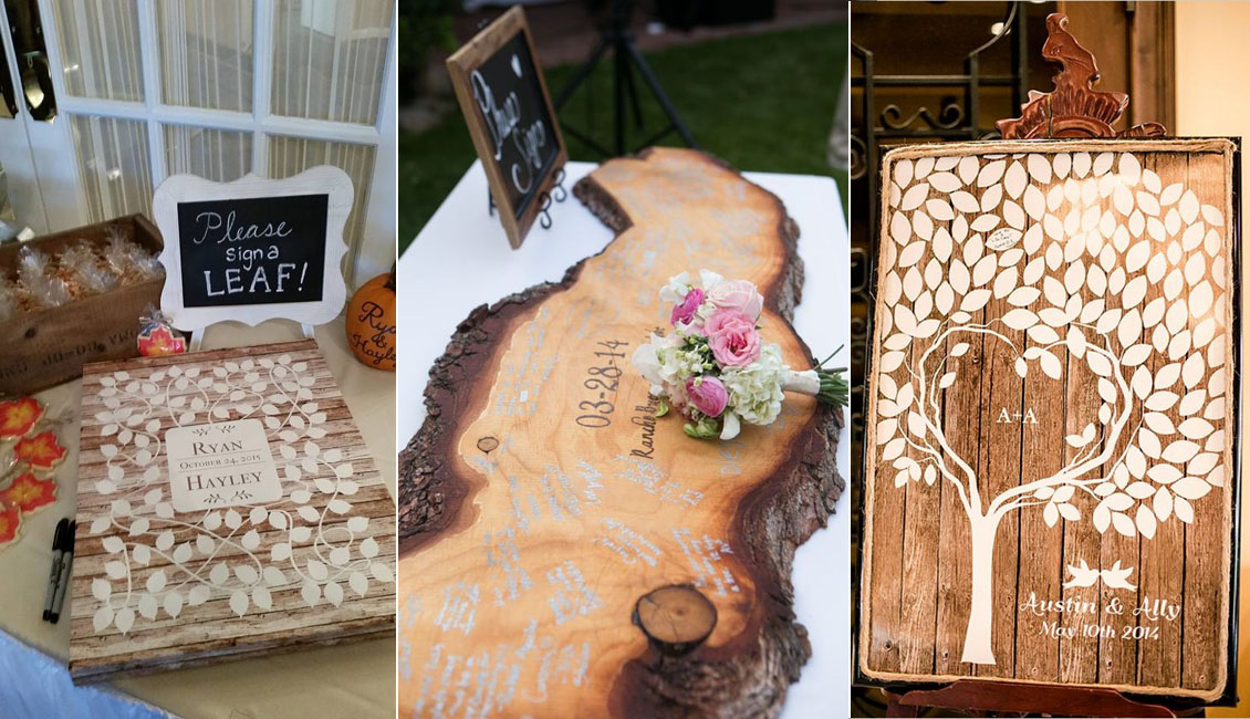 15 Wood Wedding Guest Books Youll Love  Roses  Rings
