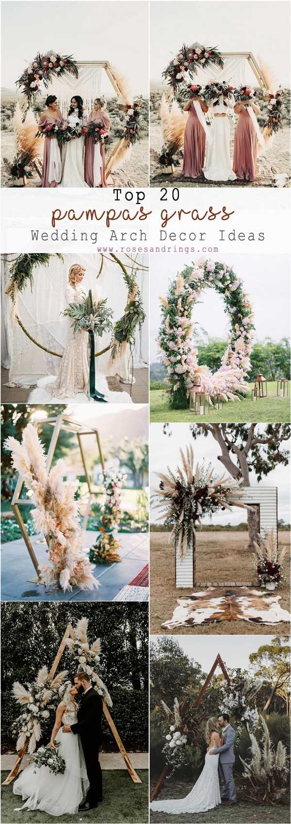 Top 20 Bohemian Pampas Grass Wedding Arches  Roses  Rings