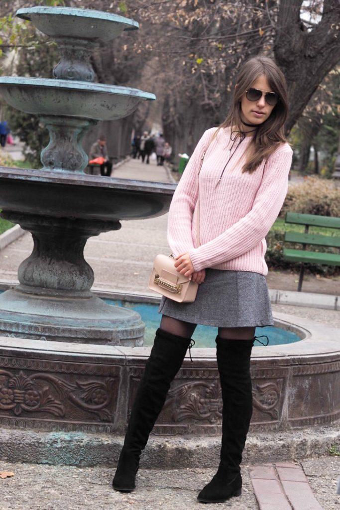look jupe cuissardes gris et rose