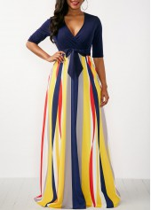 Printed V Neck Half Sleeve Maxi Dress