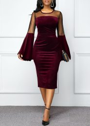 Mesh Panel Flare Sleeve Round Neck Velvet Dress