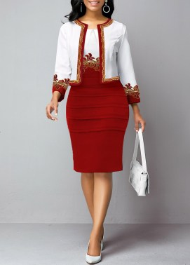 Open Front Lace Panel Cardigan and Sheath Dress