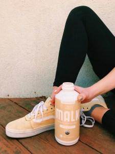 a bottle of our favorite nut milk, Malk