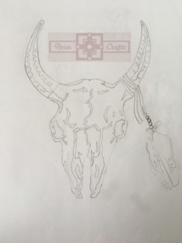 Artisan Tribes Bison Skull Drawing